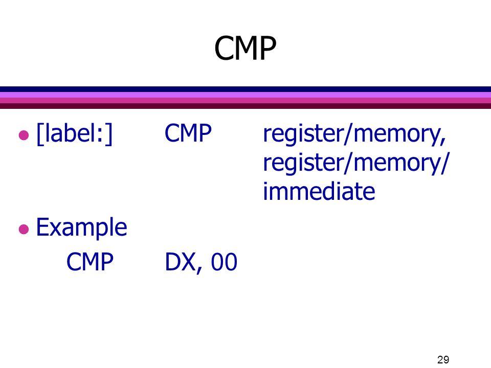 CMP [label:] CMP register/memory, register/memory/ immediate Example